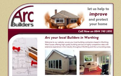 Arc Builders - website design from A Clear Web Worthing