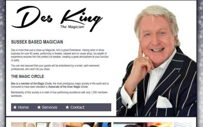Des King Sussex Magician - website design from A Clear Web Worthing