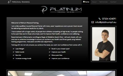 Platinum Personal Training - website design & SEO from A Clear Web Worthing
